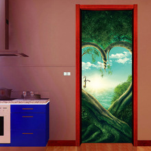 Adhesivo 3D de planta de árboles verdes de corazón para puerta, Mural DIY de imitación impermeable de PVC, papel tapiz, pegatinas de pared para dormitorio, decoración del hogar