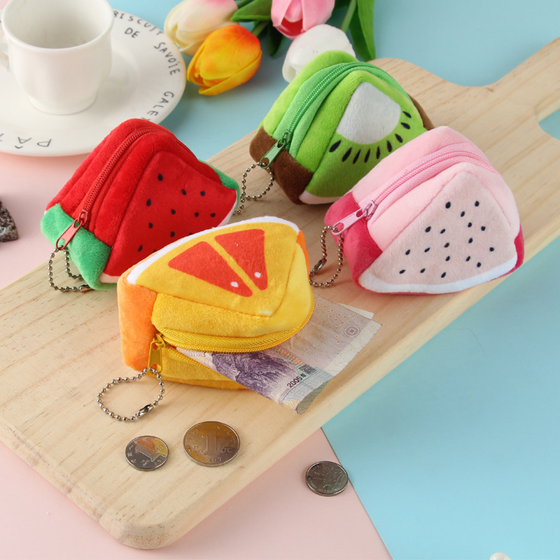 Kids Small Wallet For Children Gift Girls Coin Purses Plush Mini Money Bag Cute Fruit Change Pocket Earphone Organizer Pouch