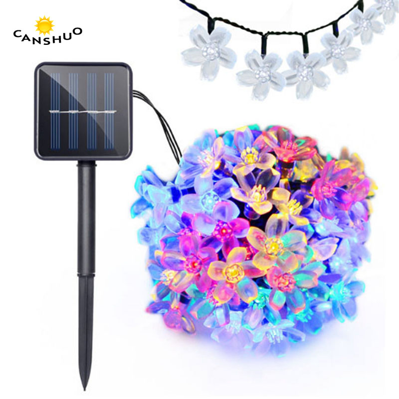 new Solar Power 7M 50LEDS Peach Sakura Flower Waterproof Lamp LED String Fairy Lights Garden Christmas Holiday Outdoor Decor solar fairy string lamps christmas decorative 7m 50leds flower blossom lights waterproof garden christmas outdoor led light