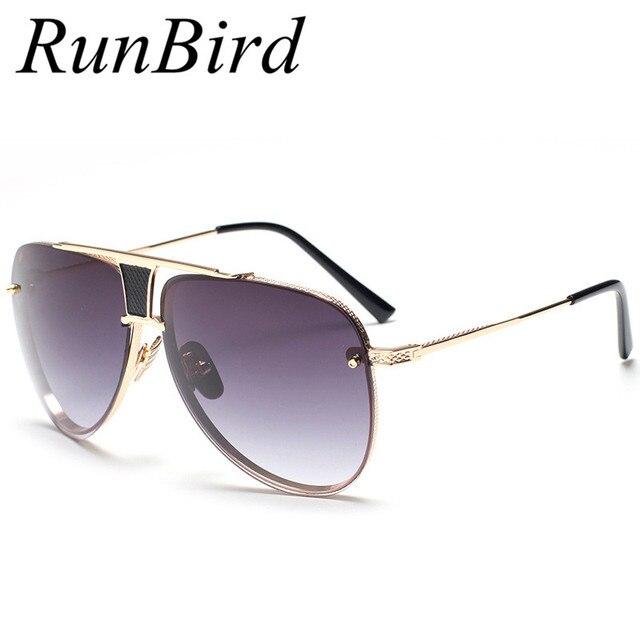 Runbird Carré lunettes de Soleil Hommes Marque De Luxe Designer En Métal  Cadre UV400 Femmes Lunettes 5531c543bdae