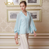 VOA 2018 Spring Summer Solid Cute Light Blue Silk Blouse Plus Size Lantern Sleeve Suit Collar Shirt Casual Women Tops B7709