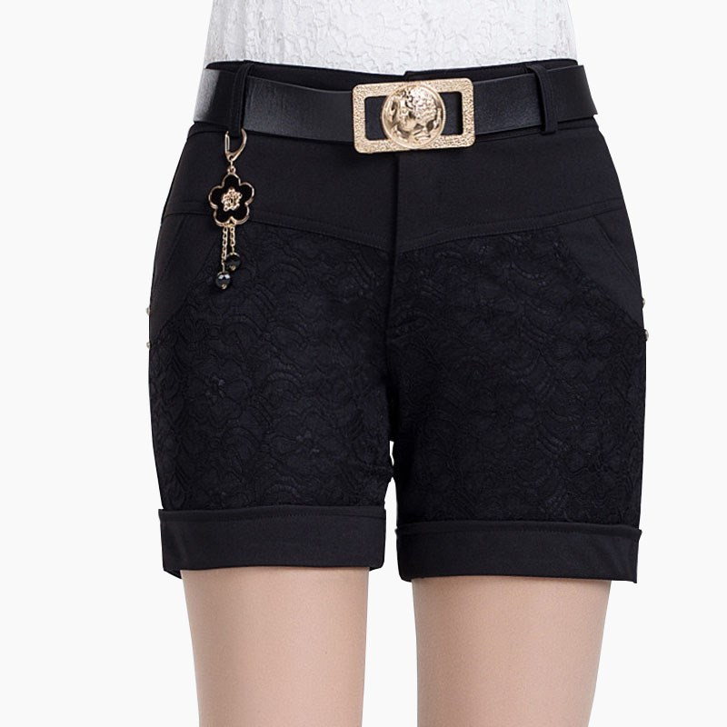CUHAKCI Lace   Shorts   Femininas Patchwork Feminino Carved Flowers Elegant Ladies Knit   Short   Appliques Mid Waist Bermudas   Shorts