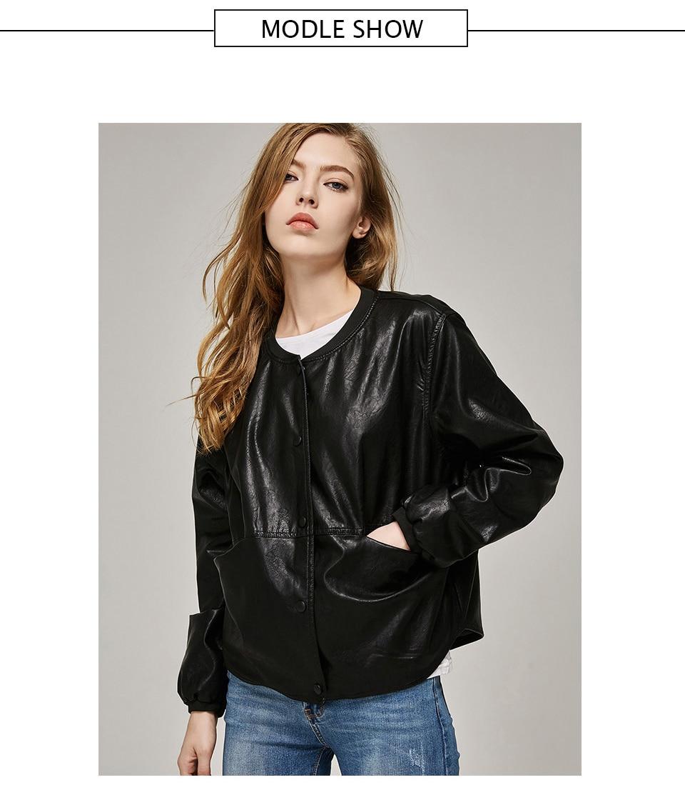 4a04431714 Giacca da donna in pelle autunno 2018 casual manica lunga pulsante cappotto  sottile moda PU rivestimento in pelle bomber Femininas