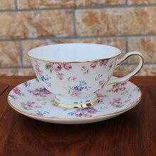 Синий цветок костяного фарфора кофейные чашки наборы креативный Британский Высококачественный тонкий белый фарфор для послеобеденного чая чашка с золотой ручкой