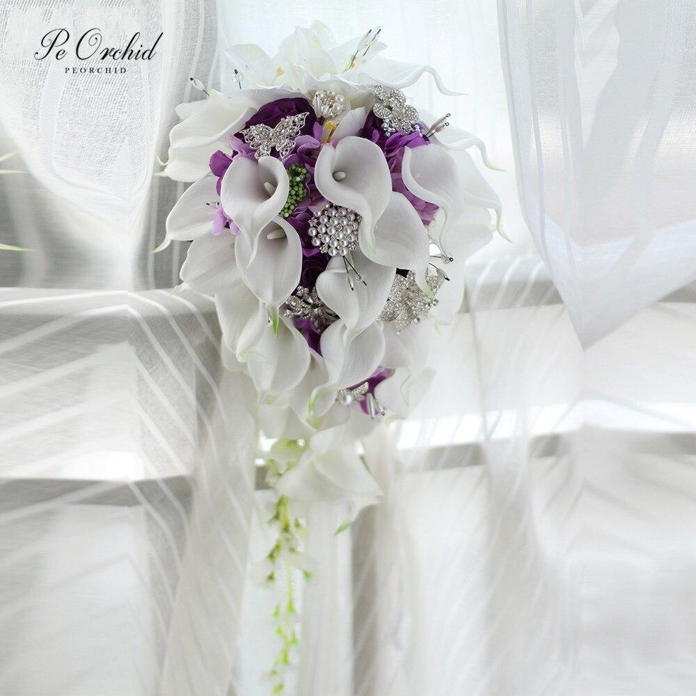 PEORCHID Crystal Waterfall Wedding Bouquet Purple Brooch Calla Lily Bouquets Ramo De Novia Vintage Rhinestone Bridal Bouquet