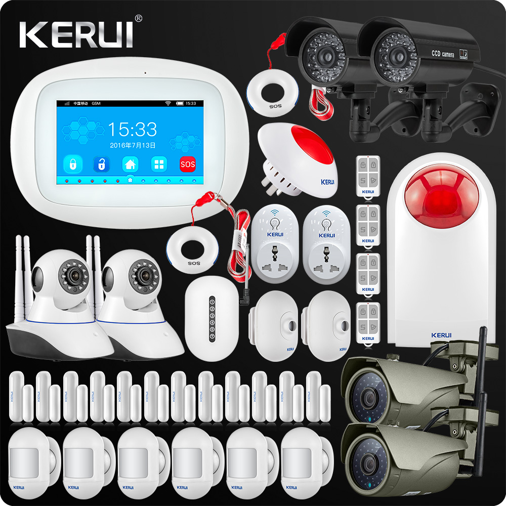 2019 Latest Kerui K52 4.3Inch Touch Screen Wireless Security Alarm WIFI GSM Alarm System APP Control Outdoor Camera Smart Socket