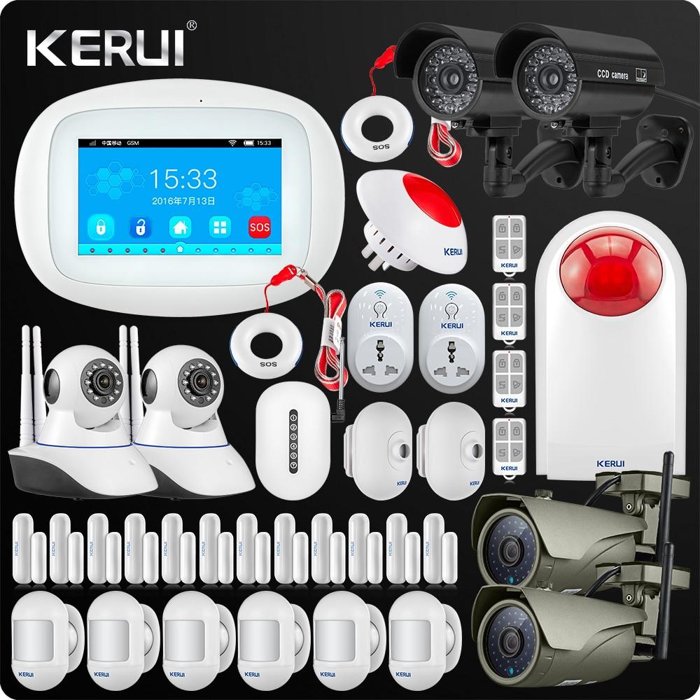 2019 latest Kerui K52 4.3Inch Touch Screen Wireless Security Alarm WIFI GSM Alarm System APP Control Outdoor Camera Smart Socket