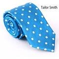Tailor Smith Luxury Blue Polka Dot Necktie Pure Natural Silk Jacquard Tie Classic Office Business Wedding DressSuit Cravat