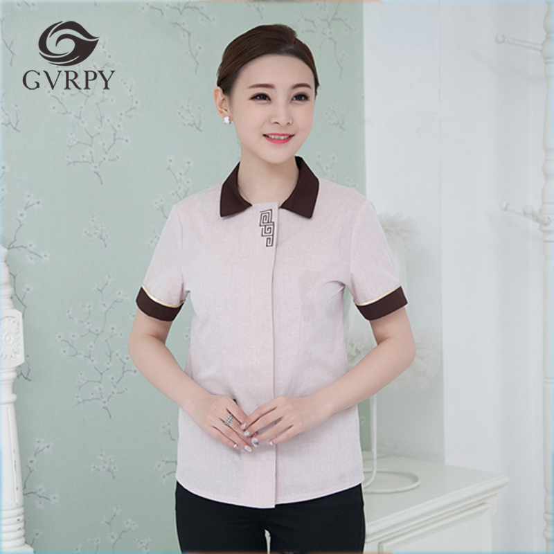 2019 New Arrival Waiter Uniform Short Sleeve Hotel Cleaning Work Jacket Traditional Waiter Men Women's Cleaning Service Overalls