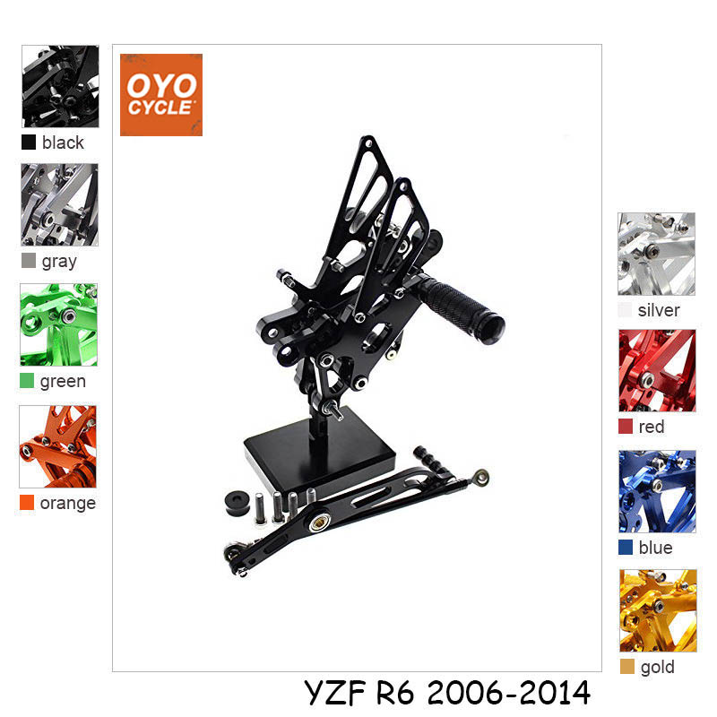 For 06-14 Yamaha YZFR6 YZF600 YZF R6 CNC Aluminum Adjustable Rear Set Foot Pegs Pedal Footrest Rearset 2006 2007 2008 2009-2014For 06-14 Yamaha YZFR6 YZF600 YZF R6 CNC Aluminum Adjustable Rear Set Foot Pegs Pedal Footrest Rearset 2006 2007 2008 2009-2014