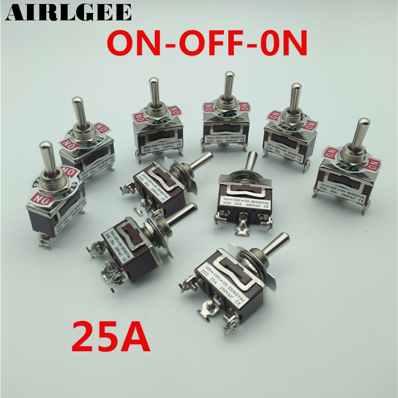 10 Pcs SPDT ON/OFF/ON Latching Type 3Position 3Screw Terminal Panel Mount Toggle Switch 250V 25A bosch twk 7604