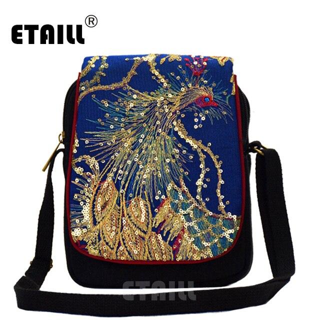 e01dd64625 ETAILL Golden Sequins Phoenix Embroidered Crossbody Bag Chinese Ethnic  Embroidery Bag Vintage Canvas Flap Shoulder Messenger Bag
