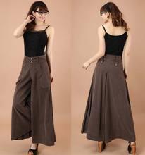 בתוספת גודל אביב קיץ נשים מוצק רחב רגל Loose שמלת מכנסיים נקבה מקרית חצאית מכנסיים Capris מכנסי חצאית
