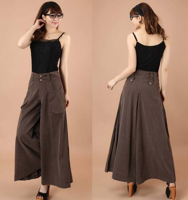 Plus size spring Summer Women solid Wide Leg Loose Dress Pants Female Casual Skirt Trousers Capris Culottes