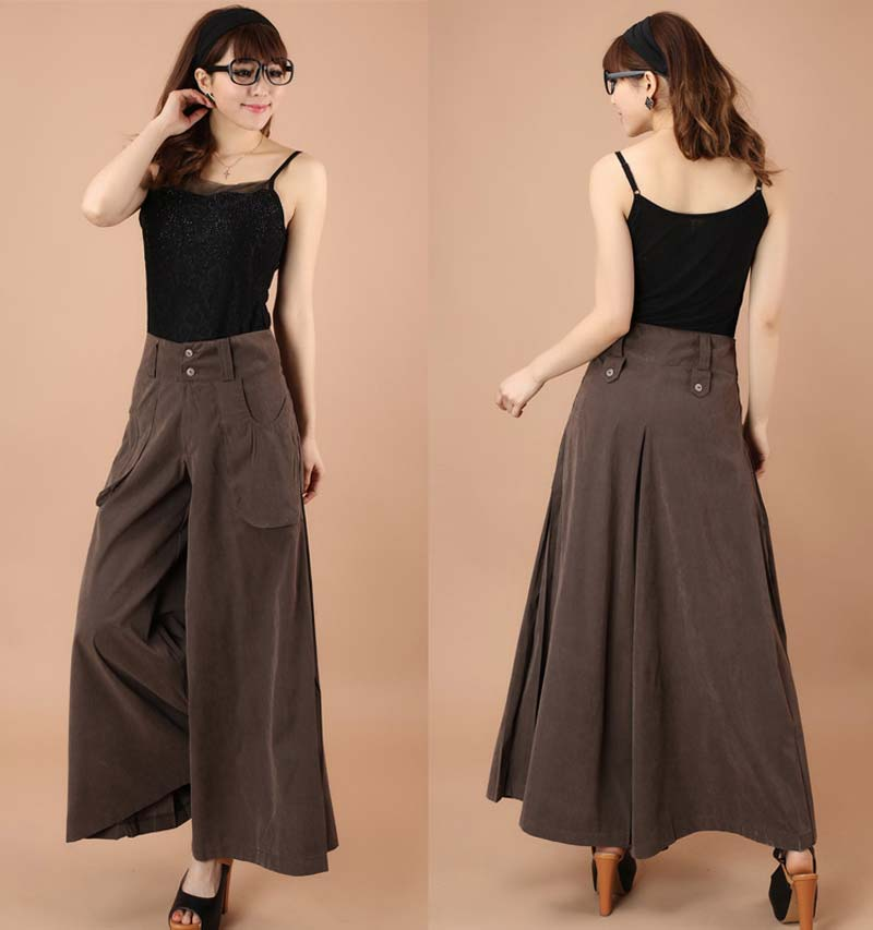 Plus Size Spring Autumn Women Solid Wide Leg Loose Dress Pants Female Casual Skirt Trousers Capris Culottes BL1428