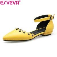 ESVEVA 2017 Princess Style Yellow Green Buckle Strap Pumps Women Square Low Heel Shoes White Women