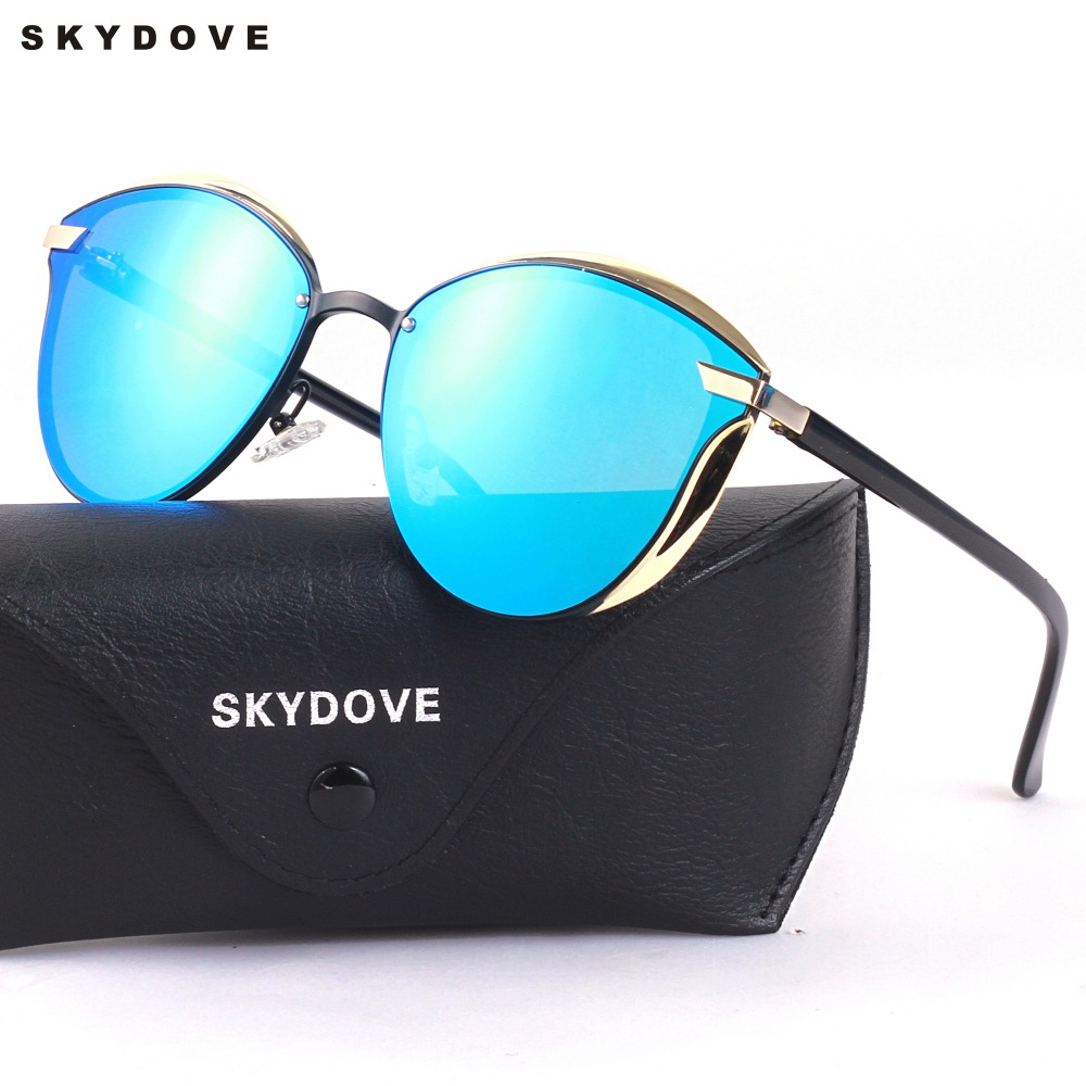 SKYDOVE Women sunglasses oversized 2018 UV400 Sunglasses Round Brand Luxury Sun Glasses Womens 2018 Sunglasses Women Mirror