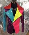 PU Кожаная Куртка Мужчины Женщины Моды Разноцветные Бар Ночной Клуб Dj Певец Верхняя Одежда DS Танцор Этап Одежда Костюм Пальто