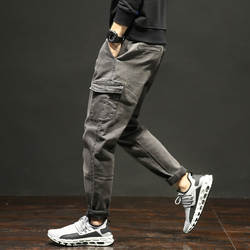 Мужские джинсы новые свободные и удобные Молодежные большие мужские с карманами для отдыха эластичные брюки на осень и зиму
