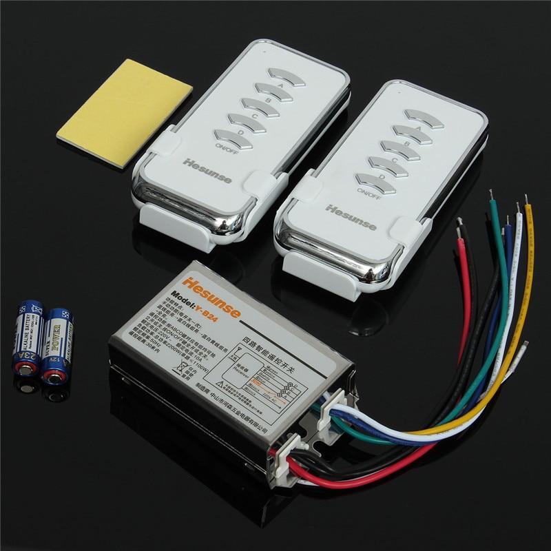 Y B24 2N1 220V 4 Ch RF Digital Wireless Remote Control Light Switch 2 Remote Control