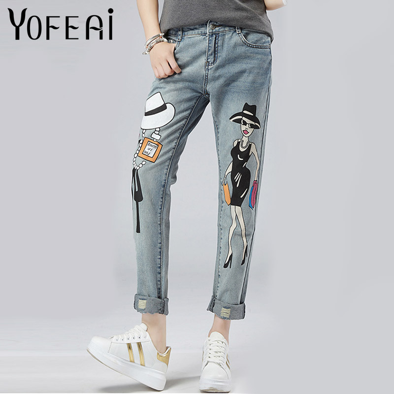 yofeai hole ripped jeans 2017 women pants fashion loose harem pants boyfriend student pants denim ripped jeans voor vrouwen YOFEAI  Women Jeans Ripped Jeans Print Casual 2017 Fashion Slim Harem Pants Sexy Denim Vintage Denim Pants