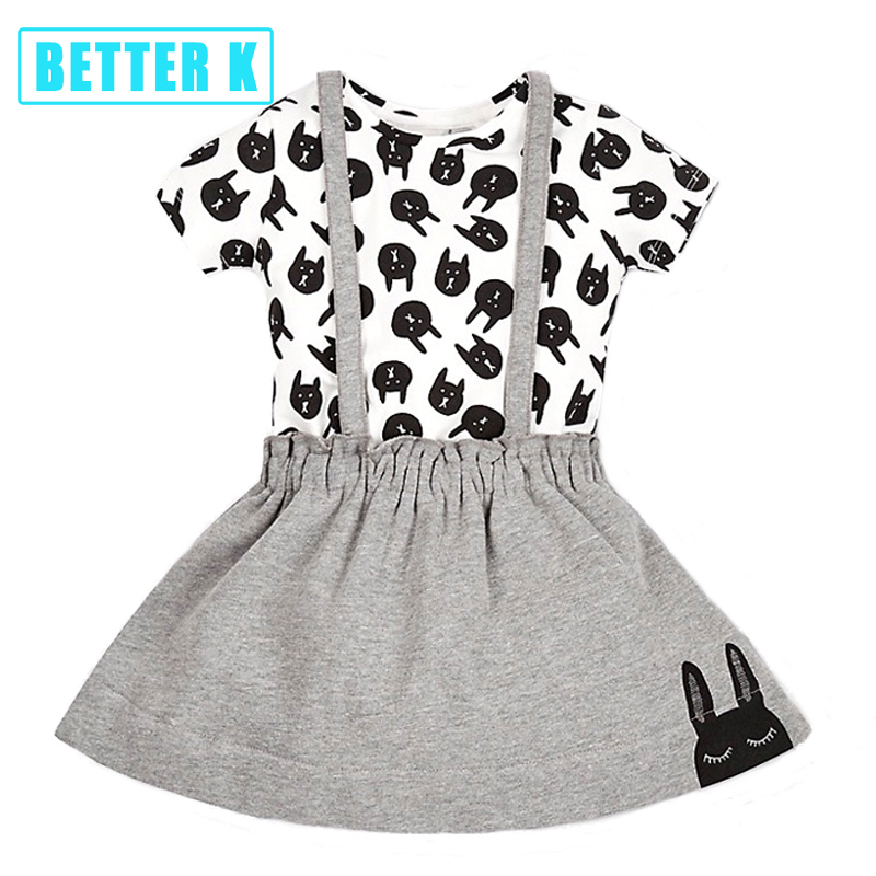 Girls Clothes Skirts Bunny Outfits Children Brand Girls Clothes Kids Clothing Sets Baby T Shirt Tops Vest + Bunny Skirt  Clothes