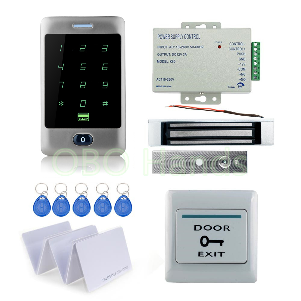 8000 users standalone DIY Waterproof Rfid Door Access Control Kit Set With 180KG Electric Magnetic Lock+12V power supply+keys 5pcs lot 8000 users biomentric rfid card access controller standalone single door surface waterproof 125khz card access control