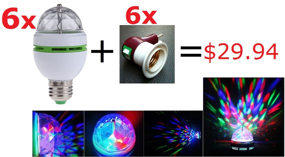 Bombillas LED Lamp E27 Moving Head Stage Lighting Laser Crystal Auto Rotating RGB LED Par DJ Controller disco ball party light