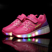 New 2016 Summer Child shoes Kids LED Light Shoes Roller Skate Girls Shoes Sneakers With Wheels