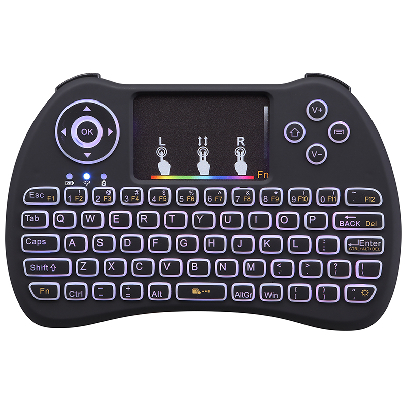 2 4G Wireless Remote Controller RGB Backlight Mini Keyboard Adjustable Backlit for Mini PC Android TV