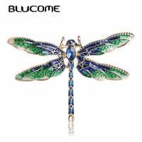 Blucome vif vert émail libellule mouche broches en alliage de Zinc insecte broche broches pour femmes enfants manteau vêtements accessoires bijoux