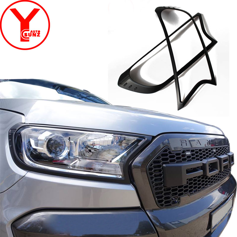 YCSUNZ Black Headlight Head Lamp Head Light Cover Car Accessories For Ford Everest Endeavour Ranger Wildtrak T7 2017 2016-2018