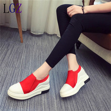 Hot Sales New 2016 Autumn Black White Hidden Wedge Heels Casual Shoes Women s Elevator High