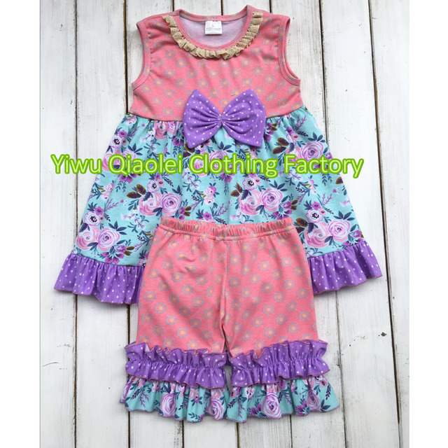 e15e6c072 2018 Wholesale easter day cute outfits boutique baby girls cotton ruffle  spring clothes kids remake outfit