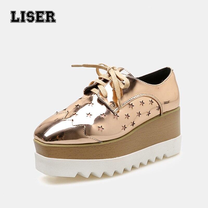 2019 nouveauté haute plate-forme sneakers en cuir verni étoiles découpe Richelieu shimmering d'or ruban décontracté Lolita marque chaussures