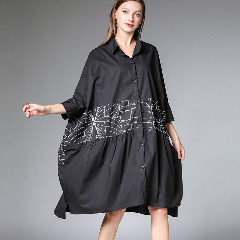 2019 female new spring and summer Korean version plus size dress literary printing patchwork loose long
