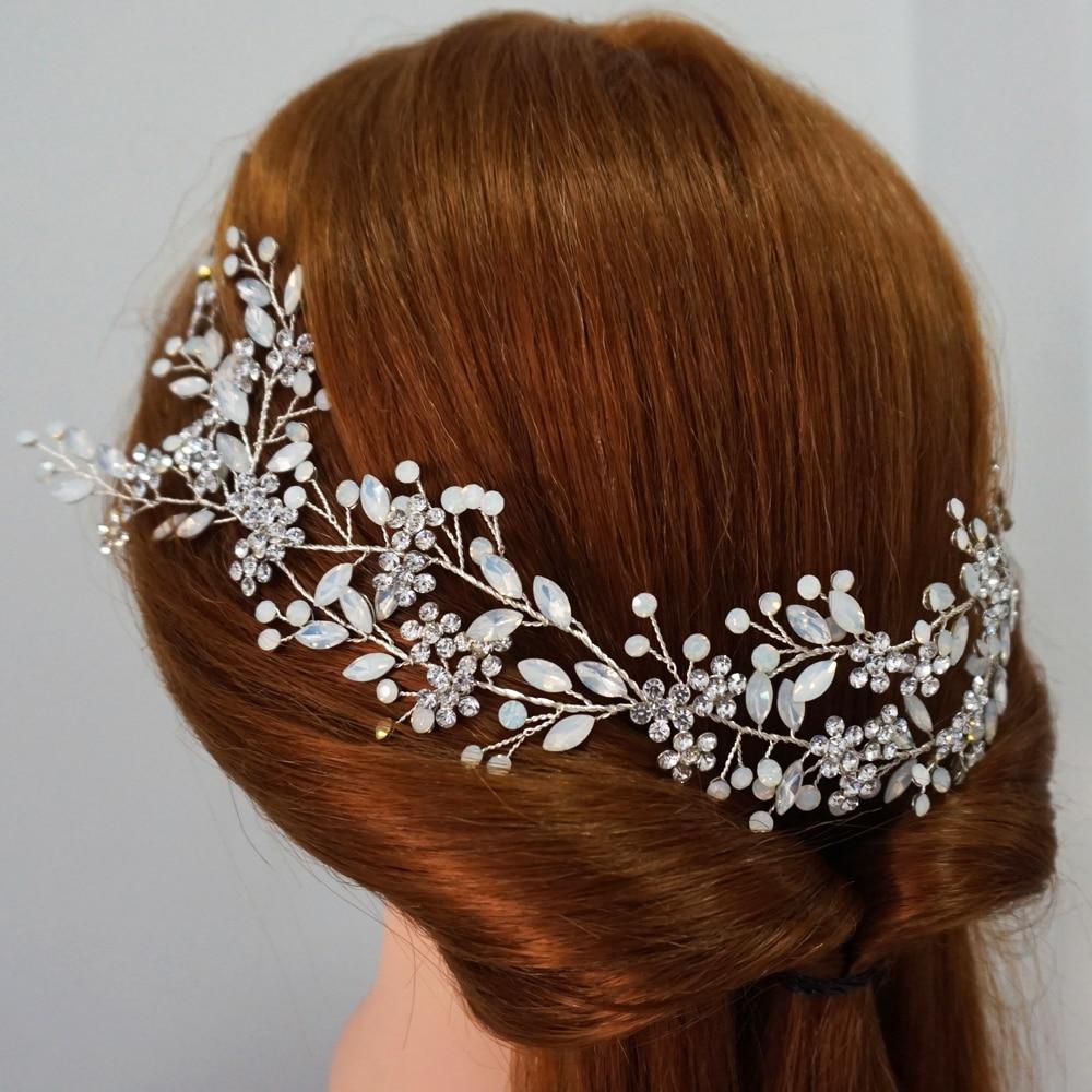 Boho Opal Crystal Bridal Hair Vine Crown Delicate Wired Wedding Headband Fashion Brides Headpiece Hair Jewelry