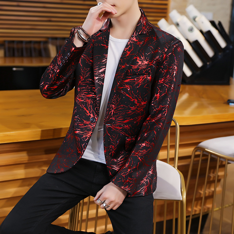 HOBO 2019 Men's Suits The New Printing Cultivate One's Morality Joker Flower Blazer Young Trend