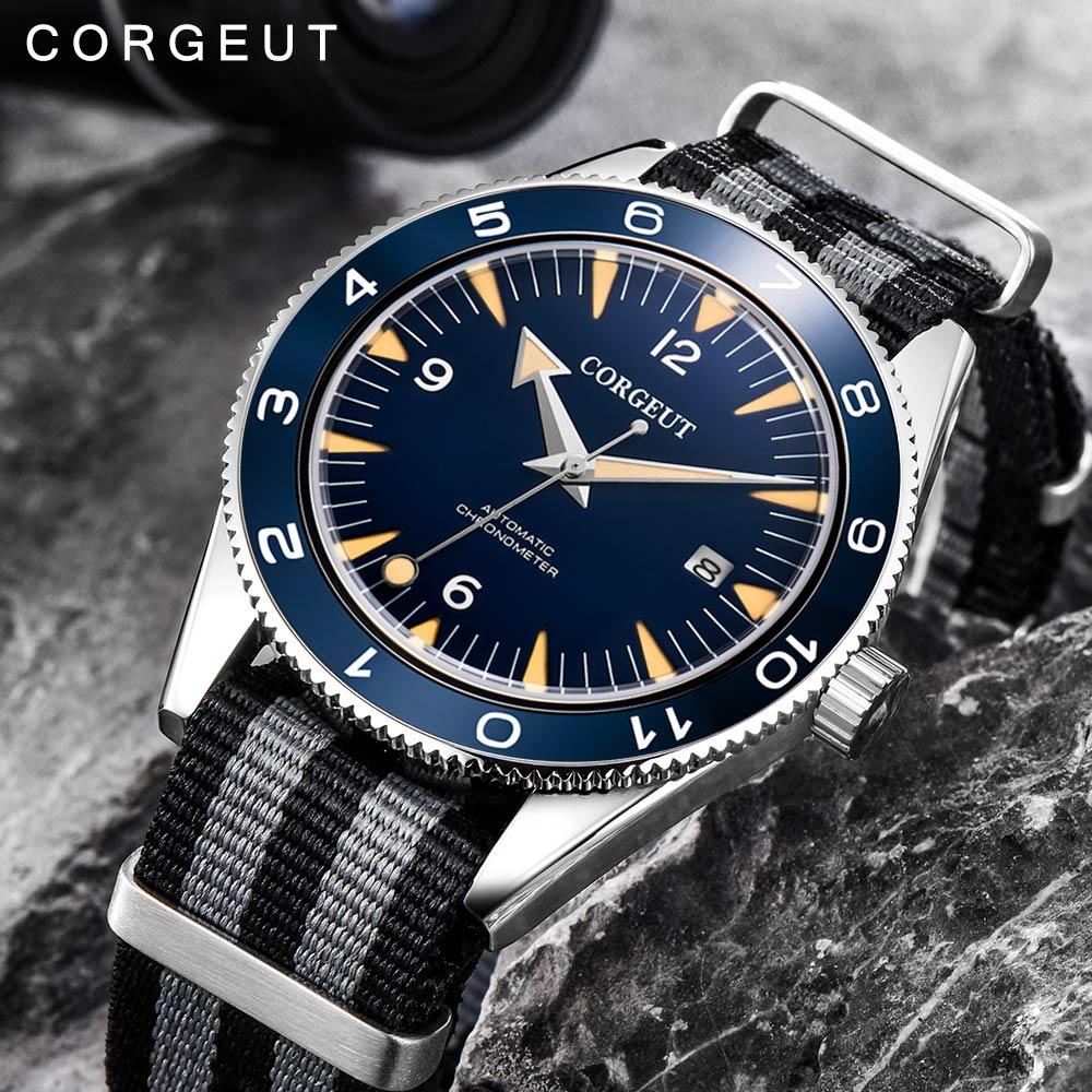Corgeut marque de luxe Seepferdchen militaire mécanique montre hommes automatique Sport Design horloge en cuir mécanique montres-in Montres sport from Montres    1