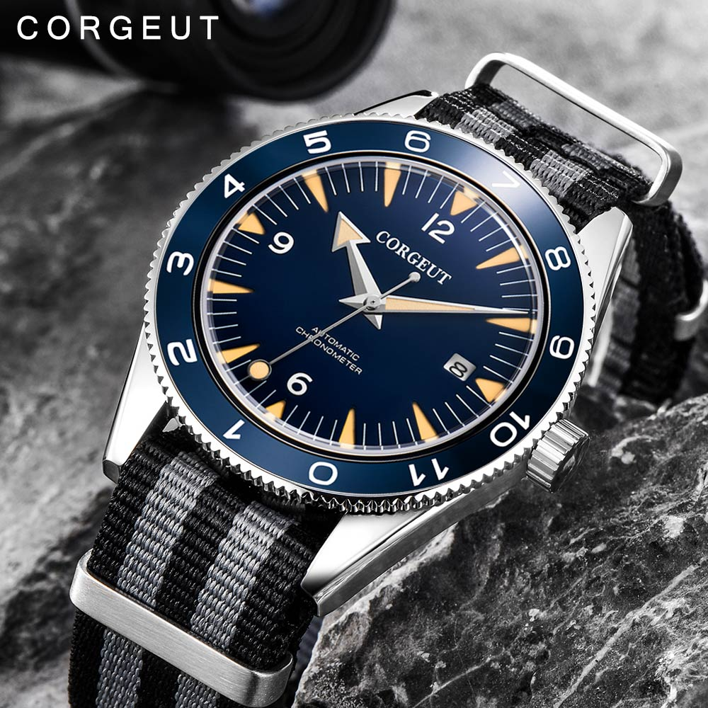 Corgeut 럭셔리 브랜드 seepferdchen 군사 기계식 시계 남자 자동 스포츠 디자인 시계 가죽 기계식 손목 시계-에서스포츠 시계부터 시계 의  그룹 1