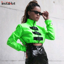InstaHot verde High Street Buckle chaqueta recortada Top Zip Up bolsillo Stand Collar Bomber chaqueta otoño mujer Casual abrigo Outwear(China)