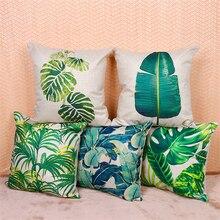 Tropical Plants  Cushion Covers  Plants Palm Leaf Green Leaves Pillowcase Home Decorative Beige Linen Pillow Case 45*45cm цены