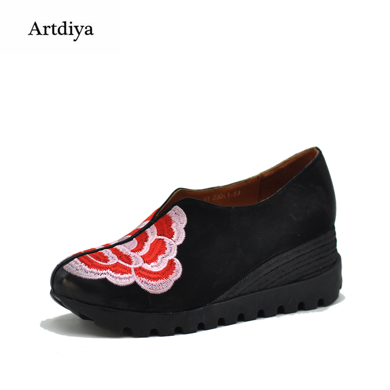 Artdiya Original 2018 Ethnic Style Slopes Women Shoes Genuine Leather Embroidered Flowers Four Seasons Shoes 038-11 ethnic embroidered black cami dress for women