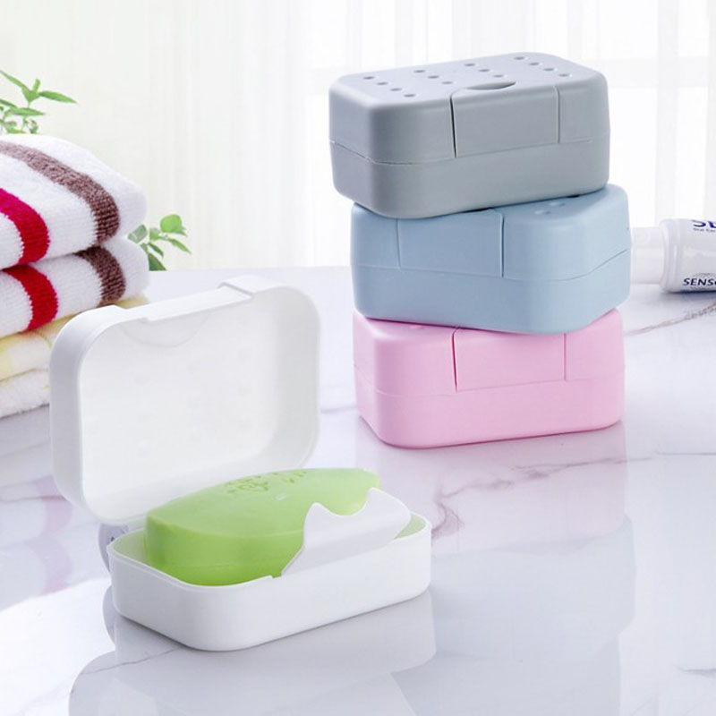 1 Pcs New Portable Travel Rectangular Soap Dish Plastic Waterproof Lock Leak Dish with Lid Soap Dish Box Case Holder Container