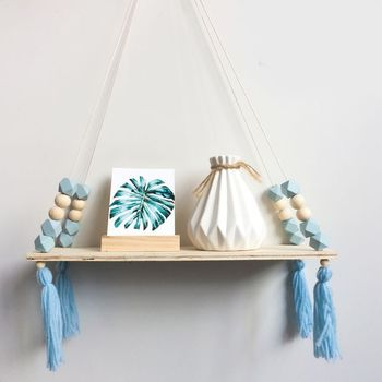 2018 Nordic Style Storage Rack INS Wall Shelves Wall Decor Wooden Beads Tassel Storage Swing Shelf Kid's Room Organizer for Toys