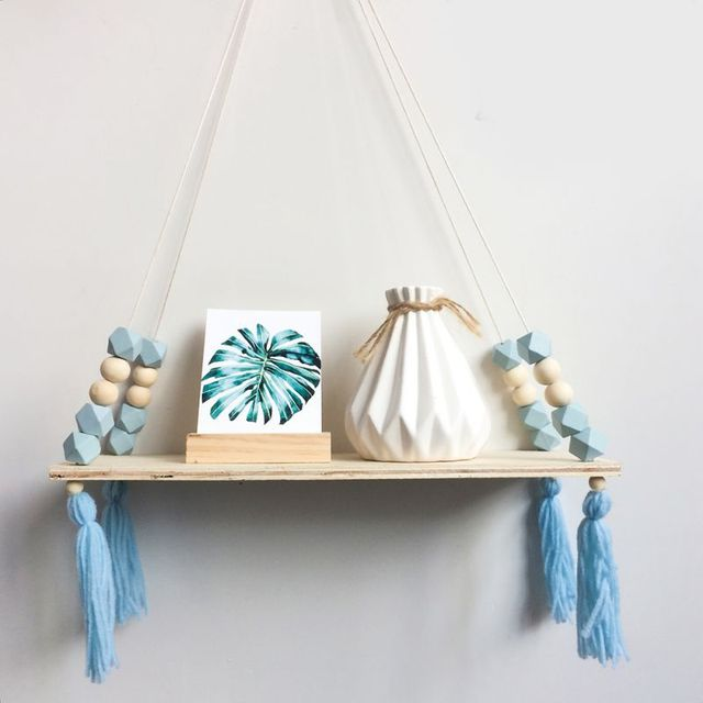 Home Nordic Style Storage Rack INS Wall Shelves Wall Decor Wooden Beads Tassel Storage Swing Shelf Kid's Room Organizer for Toys 1
