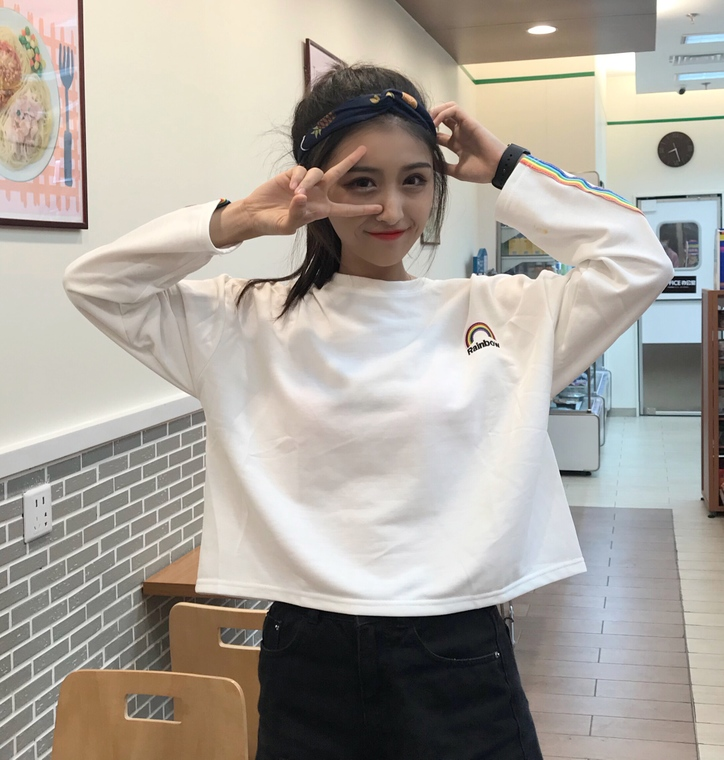 2017 New Fashion College Wind Loose Short Design Rainbow Emboridered Letter Long Sleeve Female T-shirts