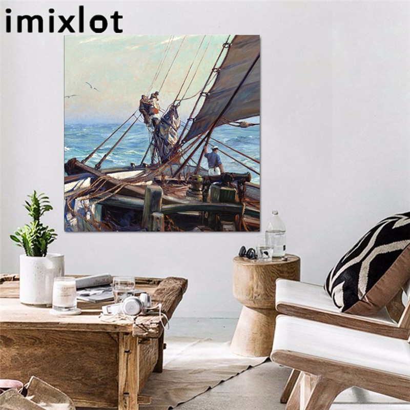 Imixlot Europe Style Sailing Boat Canvas Paintings For