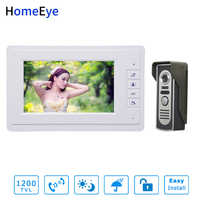 HomeEye 7inch Video Door Phone Video Intercom White Color Monitor + 1200TVL Waterproof Outdoor Call Button Home Access Control