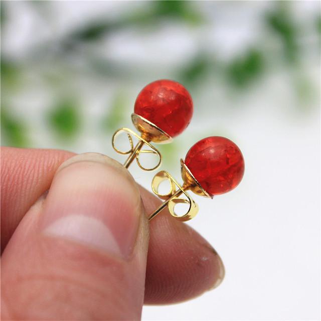 Simple beads Christmas stud earrings for women